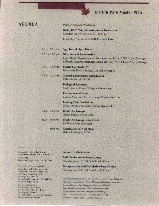 2003 Master Plan 2003 Master Plan Workshop